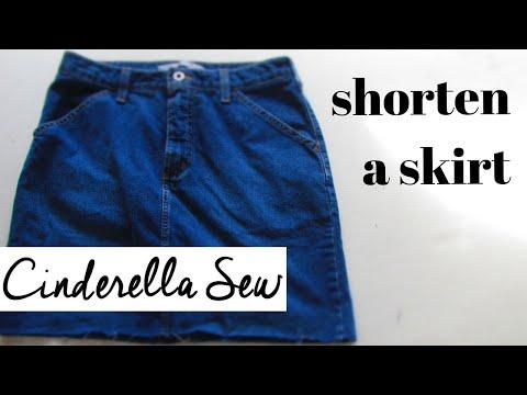 Cut the bottom off of a denim skirt - Distress jean skirts - Shorten a skirt