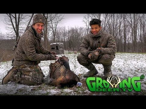 Turkey Hunting   Cold, Snowy Morning With Hot Birds (#438)  @GrowingDeer.tv