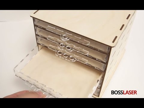 Laser Cut Wood / Acrylic Box Drawer Storage - Download Plans