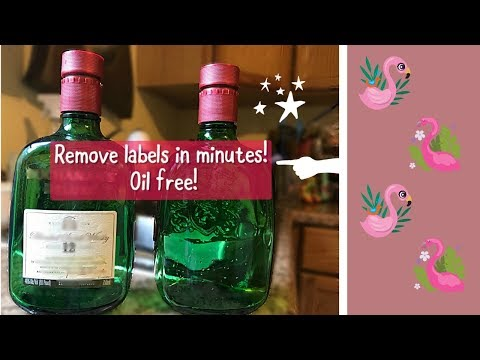 How to remove labels from glass bottles in minutes with out oil!