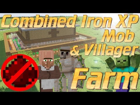 Minecraft: How to make an Iron Farm In Minecraft | Combined Iron Farm Mob Farm XP Farm & Villagers