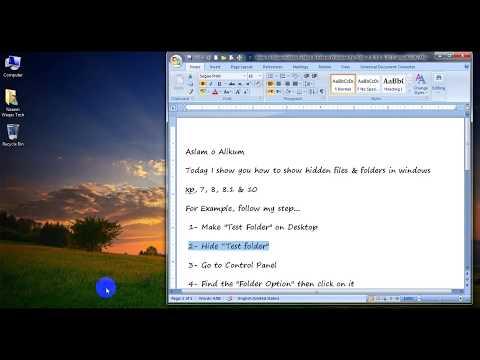 How To Show Hidden Folders & Files in Windows Xp, Vista, 7, 8, 8 1 & 10