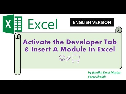How Enable/Activate Developer Tab, Insert Module & Run Macro in Excel - ENGLISH