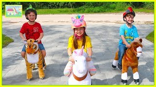 Kids Ride On Toy Pony And Play On The Playground!