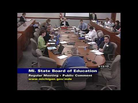 Michigan State Board of Education Meeting for March 15, 2012 - Session Part 3