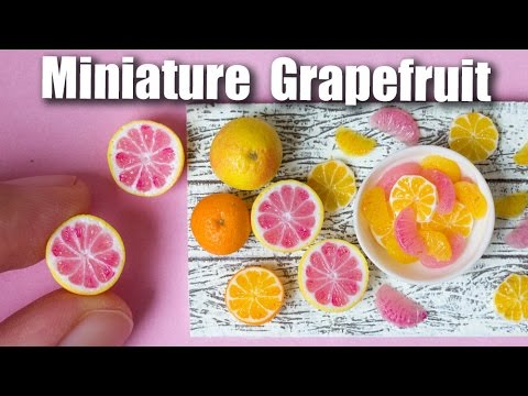 Miniature Polymer Clay Grapefruit Cane Tutorial // Dollhouse Food