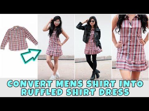 DIY: Convert Men's Shirt Into Cute Shirt Dress In 6 Mins| Ways to style It
