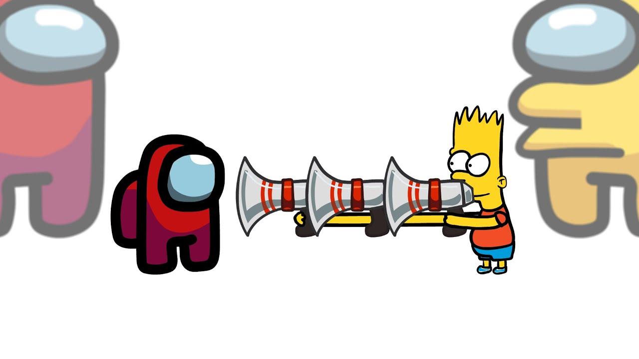 Mini Crewmate Kills The Simpsons Characters | Among Us