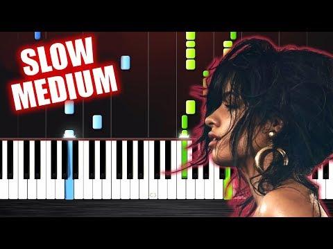 Camila Cabello - Havana - Piano Tutorial (SLOW MEDIUM) by PlutaX