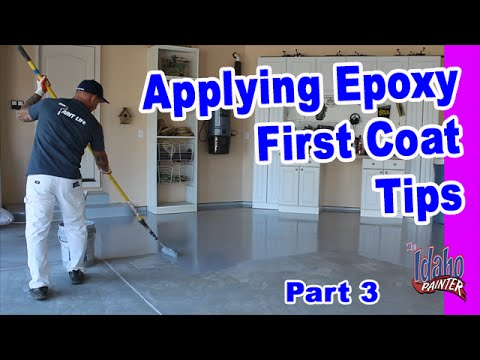 Applying Epoxy The First Coat.  Epoxy Floor Application Instructions.  Instructions applying epoxy.