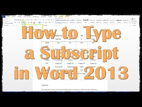 How to Type a Subscript in Word 2013