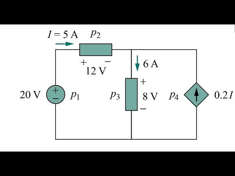 POWER EXAMPLE  (FIND SUPPLIED AND ABSORBED POWER)