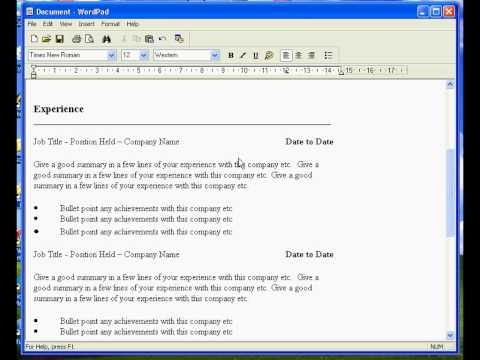 Create a Resume in Wordpad