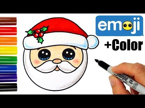 How to Draw + Color Santa Head Emoji step by step Super Easy