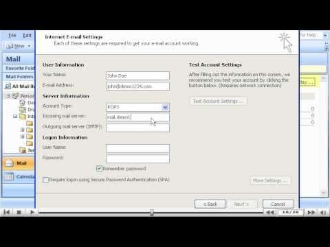 How to configure an email account in Outlook 2007 - Configuring Email Tutorials