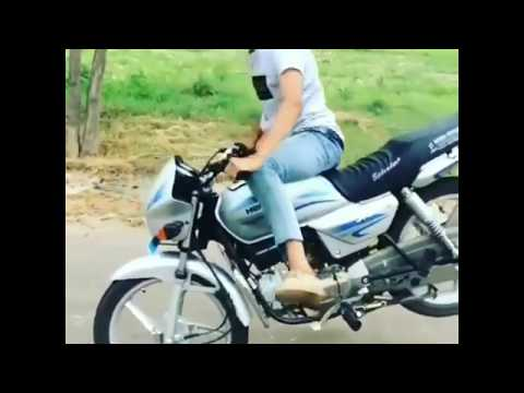 Modified Splendor bike stunt plus silver colour stoppie stunts