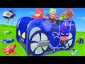 PJ Masks Unboxing Catboy Gekko Owlette Play Tent Rocketship HQ Ride On Toy Vehicles For Kids