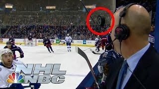Pierre McGuire narrowly misses a hockey puck to the face   NHL   NBC Sports
