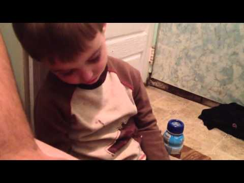 Kid falls asleep on stool