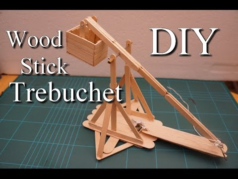 DIY CRAZY Trébuchet en bâtonnet de bois EASY/ DIY wood stick Trebuchet catapult