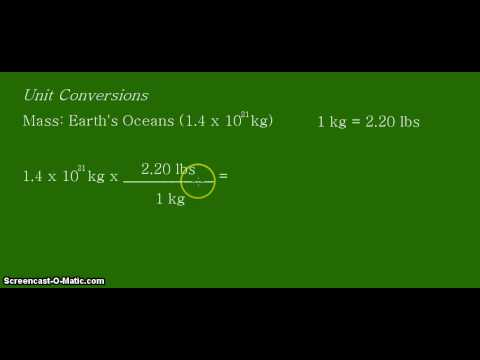 Unit Conversion: Converting kilograms (kg)  to pounds (lbs) for the mass of the Earth's oceans