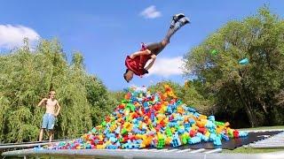 TRAMPOLINE VS 10,000 GIANT LEGOS!