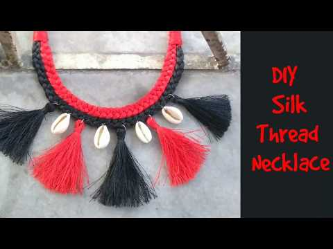 Diy silk thread tassel necklace || no tools required || how to make braided thread necklace at home