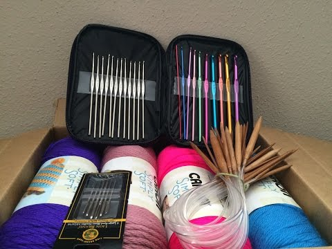 Everything you need for knitting and crochet: yarn,  needles, hooks and weaving needles