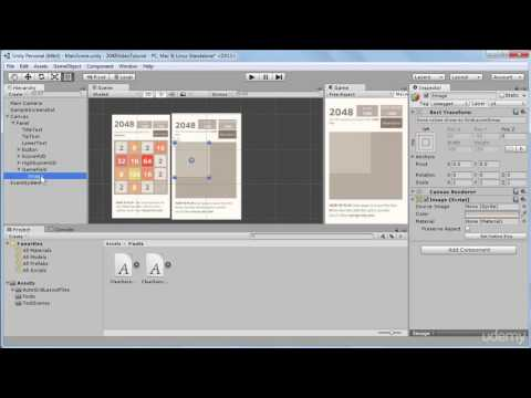10. Creating a Grid of Tiles on the Game Field  - Build 2048 puzzle game in Unity 3D