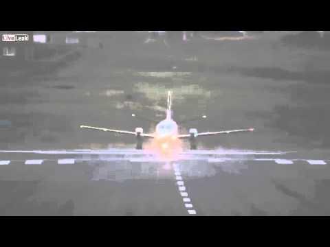 Plane takes off sideways from Shetland Islands
