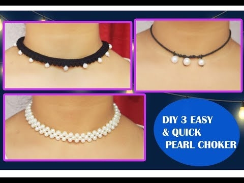 DIY 3 QUICK & EASY PEARL CHOKER NECKLACE/PARNA'S BEAUTY WORLD