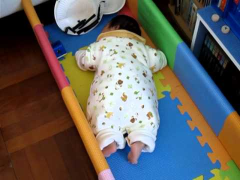 baby in crawling track