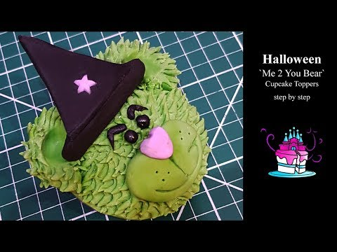 Halloween `Me 2 You Bear` Cupcake Toppers