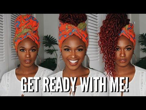CHIT CHAT GRWM - Makeup tutorial & 3 Headwrap Crochet Styles | Kiitana