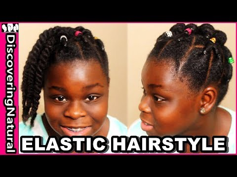 Cute Elastic Natural Hairstyles: Rubber Band Protective Style Bun