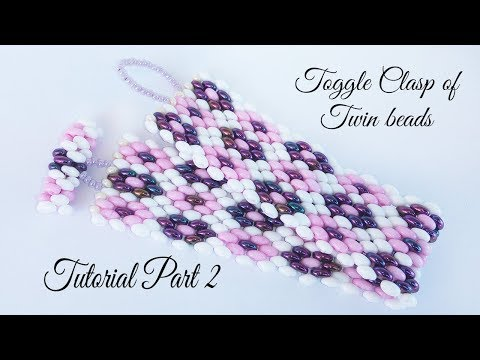 Twin beads peyote bracelet - the toggle clasp (Part 2)