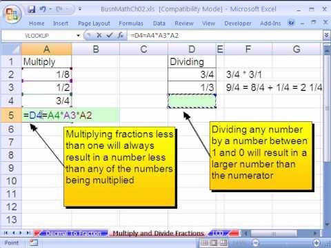 Excel Busn Math 19: Multiplying & Dividing Fractions