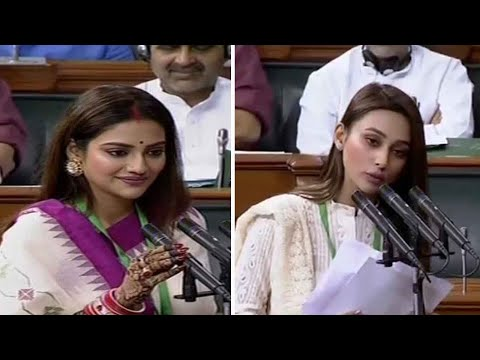 Xxx Mp4 Nusrat Jahan Mimi Chakraborty From TMC Take Oath As Lok Sabha Members 3gp Sex