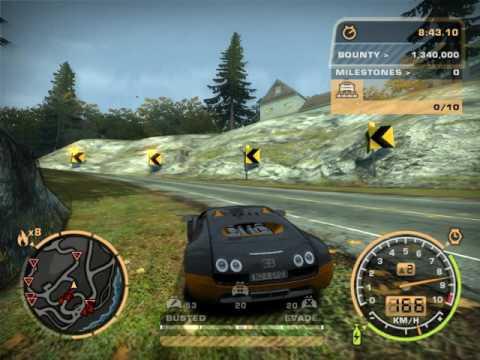 NFSMW: Police pursuit with SWAT trucks on Bugatti Veyron [MOD]