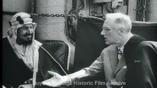 HD Historic Archival Stock Footage WWII Roosevelt Meets Middle East Leaders