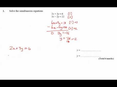 11y Ma2   Simultaneous Equations   Q1