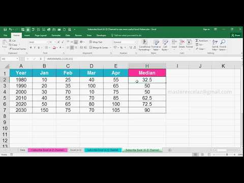 How to Find Median for the given numbers in Excel 2016