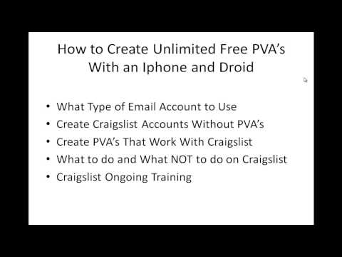 How to Create Unlimited Free PVA's For Craigslist With an Iphone or Droid