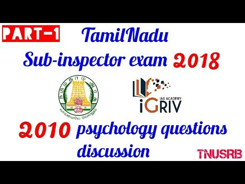 TN Sub-Inspector 2018 | previous year (2010) psychology questions discussion part 1 by igriv