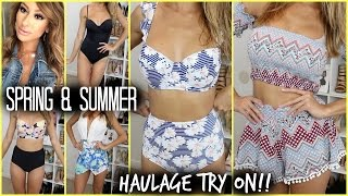 SPRING SUMMER HAUL- TRY ON!! High waist bikinis, twin sets, dresses