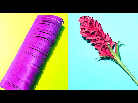 DIY Paper crafts: easy way to make beautiful paper lavender flower | decor ideas (hindi)