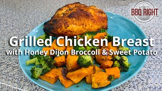 Grilled Chicken Breast with Honey Dijon Broccoli & Sweet Potato