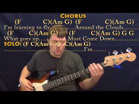 Learning To Fly (Tom Petty) Bass Guitar Cover Lesson in C with Chords/Lyrics