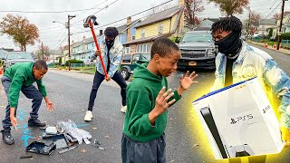 Destroying Kids PS4 in the hood \u0026 Surprising With A PS5 !!! (HILARIOUS)