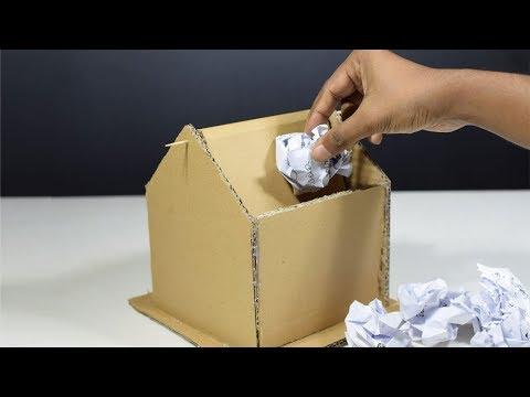 How to make trash bin with cardboard